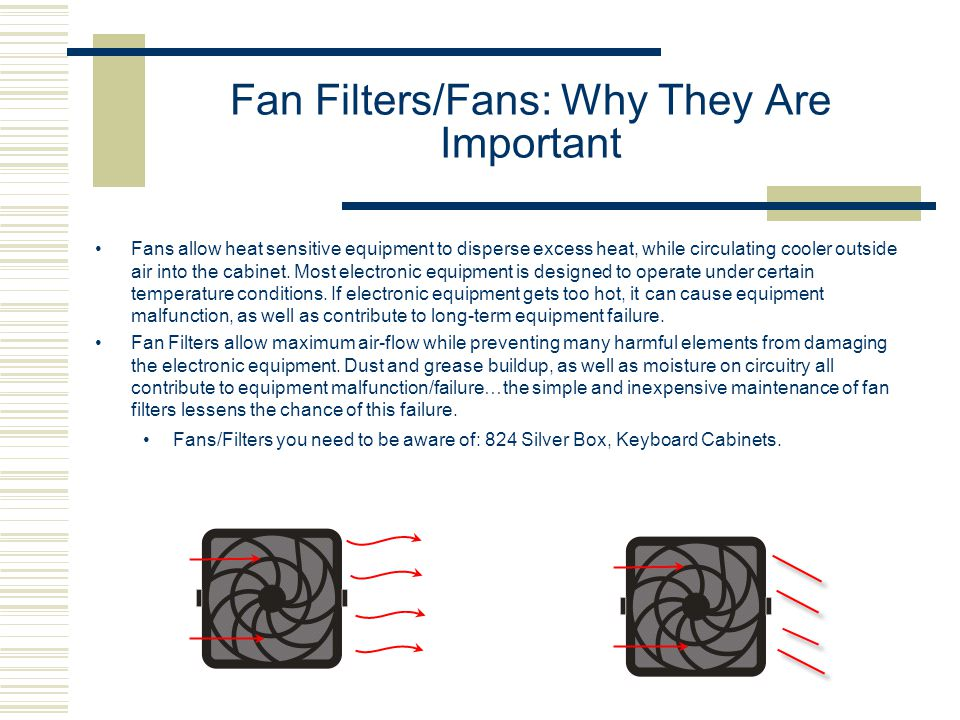 Fan Filters/Fans: Why They Are Important Fans allow heat sensitive equipment to disperse excess heat, while circulating cooler outside air into the cabinet.