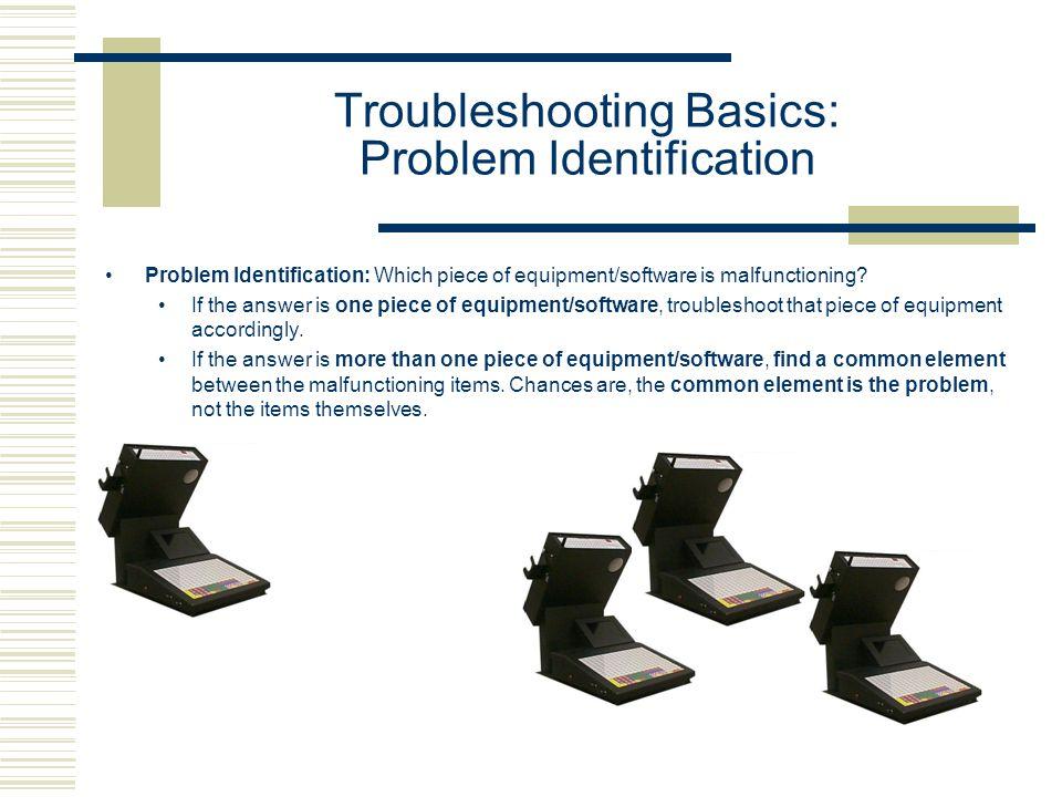 Troubleshooting Basics: Problem Identification Problem Identification: Which piece of equipment/software is malfunctioning.