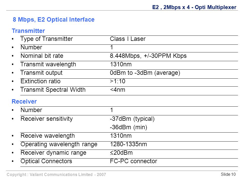 Copyright : Valiant Communications Limited - 2007Slide 10 Transmitter Type of TransmitterClass I Laser Number 1 Nominal bit rate8.448Mbps, +/-30PPM Kbps Transmit wavelength1310nm Transmit output0dBm to -3dBm (average) Extinction ratio>1:10 Transmit Spectral Width<4nm Receiver Number1 Receiver sensitivity-37dBm (typical) -36dBm (min) Receive wavelength1310nm Operating wavelength range1280-1335nm Receiver dynamic range  20dBm Optical ConnectorsFC-PC connector E2, 2Mbps x 4 - Opti Multiplexer 8 Mbps, E2 Optical Interface