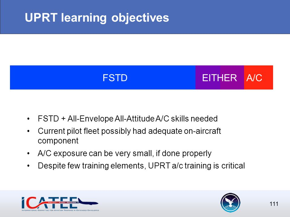 111 UPRT learning objectives 111 FSTD A/CEITHER FSTD + All-Envelope All-Attitude A/C skills needed Current pilot fleet possibly had adequate on-aircraft component A/C exposure can be very small, if done properly Despite few training elements, UPRT a/c training is critical