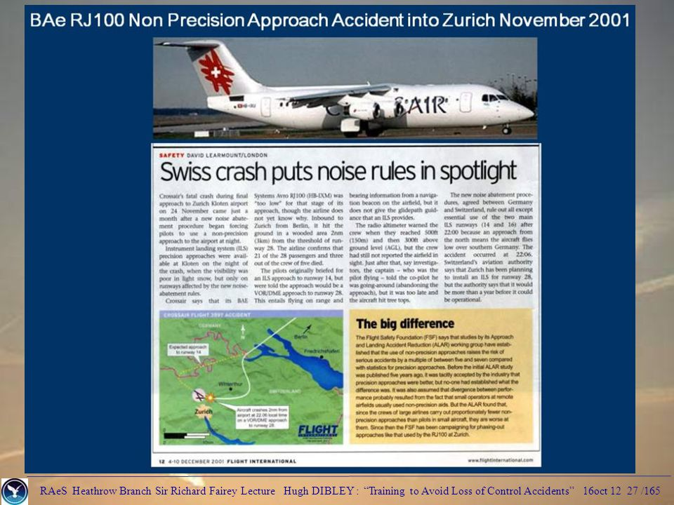 RAeS Heathrow Branch Sir Richard Fairey Lecture Hugh DIBLEY : Training to Avoid Loss of Control Accidents 16oct 12 27 /165