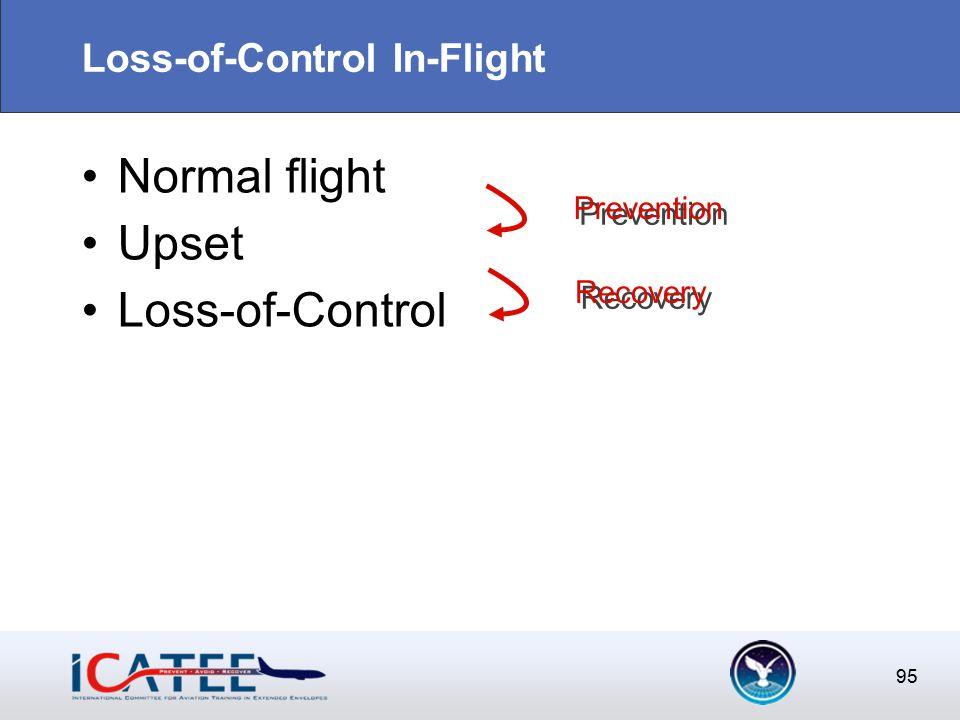 95 Loss-of-Control In-Flight Normal flight Upset Loss-of-Control 95 Prevention Prevention Recovery Recovery