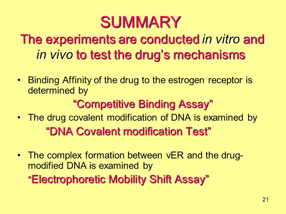 21 Binding Affinity of the drug to the estrogen receptor is determined by Competitive Binding Assay The drug covalent modification of DNA is examined by DNA Covalent modification Test The complex formation between vER and the drug- modified DNA is examined by Electrophoretic Mobility Shift Assay SUMMARY The experiments are conducted in vitro and in vivo to test the drug's mechanisms