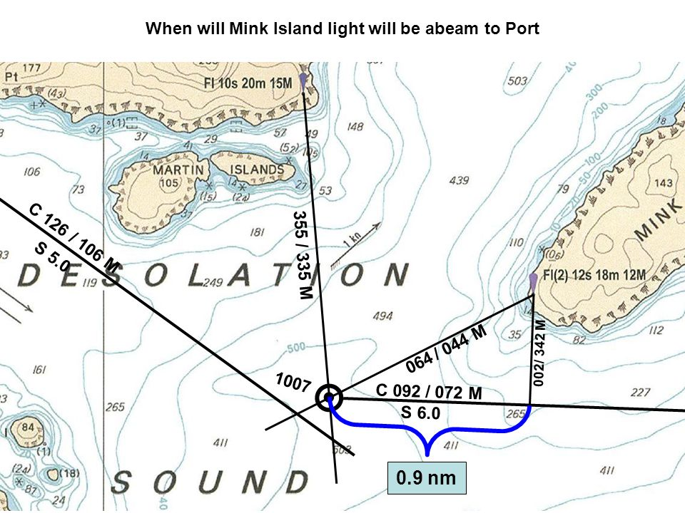 C 126 S 5.0 / 106 M 355 / 335 M 1007 When will Mink Island light will be abeam to Port 064 / 044 M C 092 S 6.0 / 072 M 0.9 nm 002 / 342 M