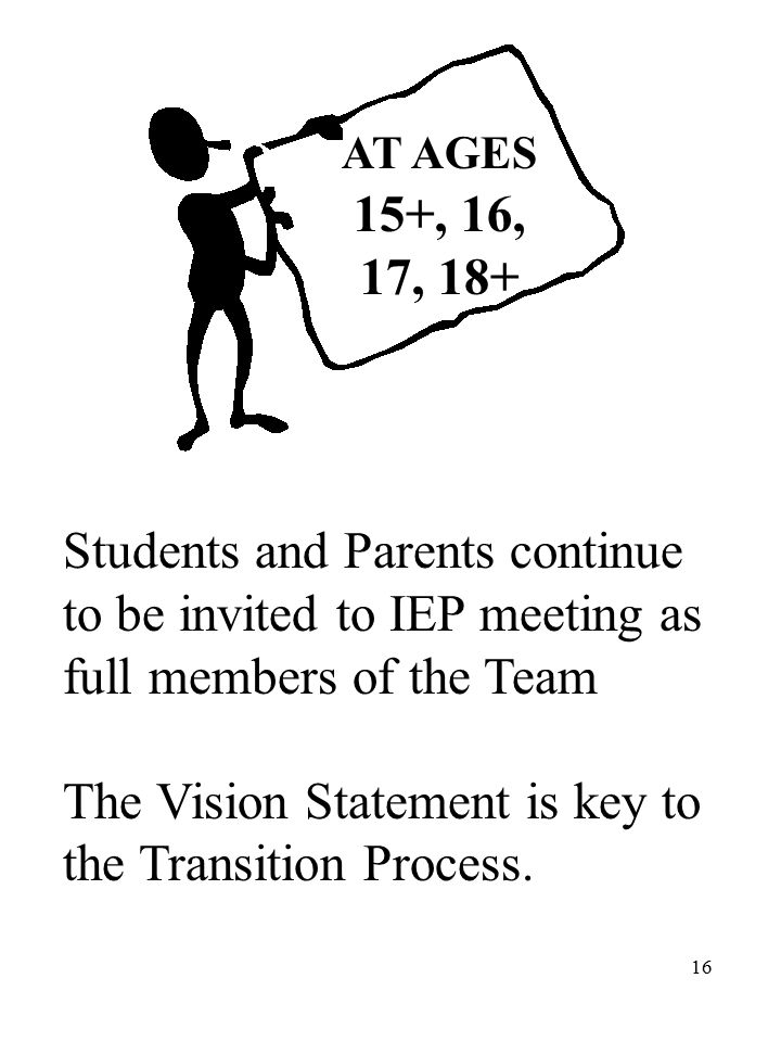 16 AT AGES 15+, 16, 17, 18+ Students and Parents continue to be invited to IEP meeting as full members of the Team The Vision Statement is key to the Transition Process.