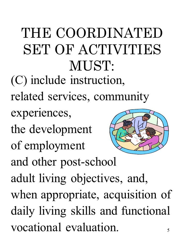 5 THE COORDINATED SET OF ACTIVITIES MUST: (C) include instruction, related services, community experiences, the development of employment and other post-school adult living objectives, and, when appropriate, acquisition of daily living skills and functional vocational evaluation.