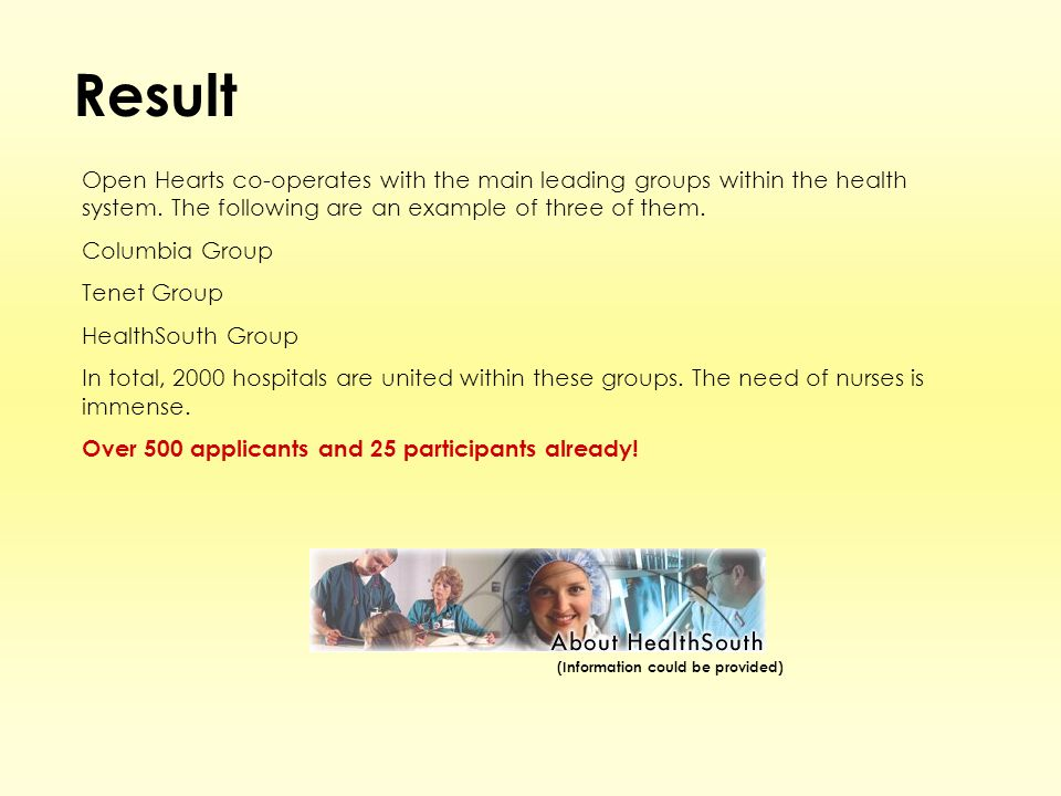 Result Open Hearts co-operates with the main leading groups within the health system.