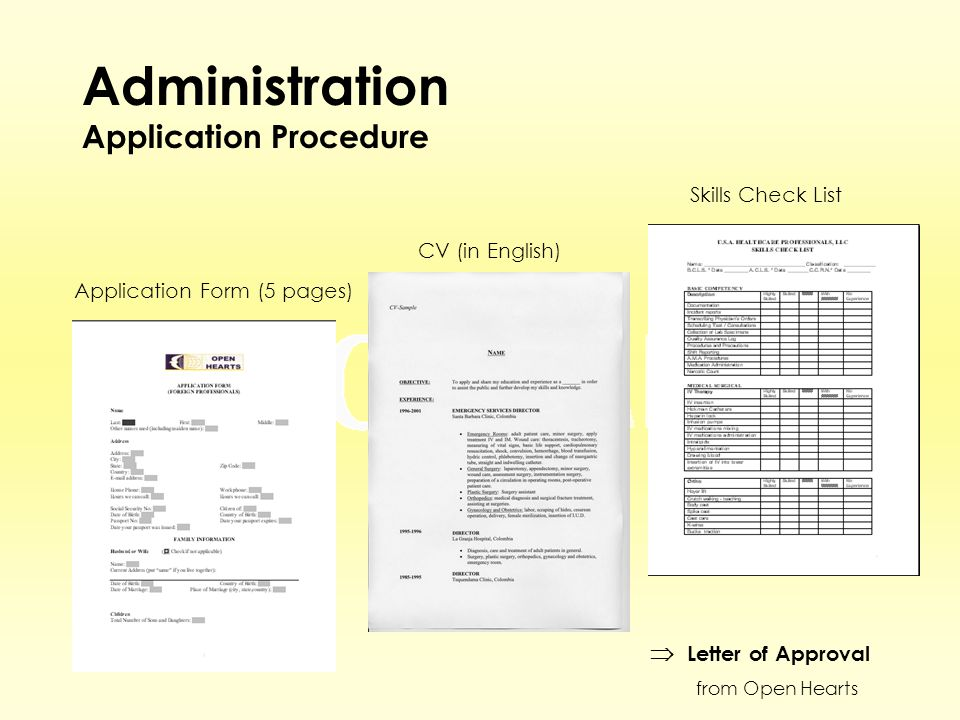 Administration Application Procedure Application Form (5 pages) CV (in English) Skills Check List  Letter of Approval from Open Hearts