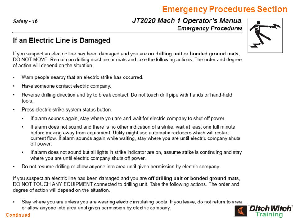 Emergency Procedures Section Continued