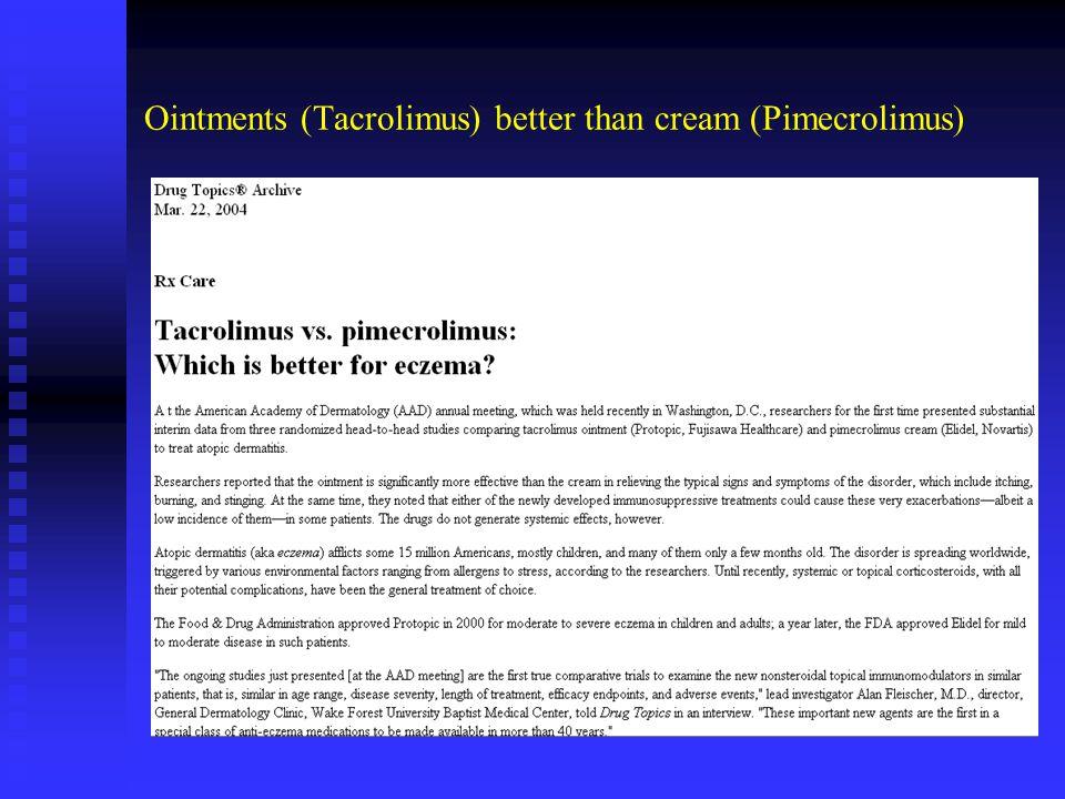 Ointments (Tacrolimus) better than cream (Pimecrolimus)