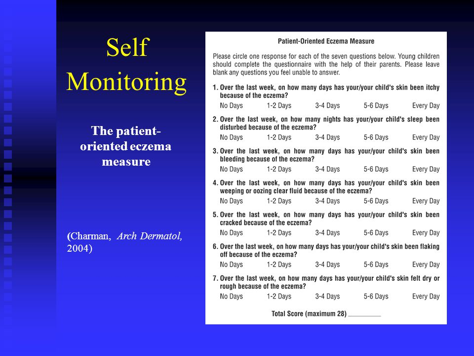 (Charman, Arch Dermatol, 2004) The patient- oriented eczema measure Self Monitoring