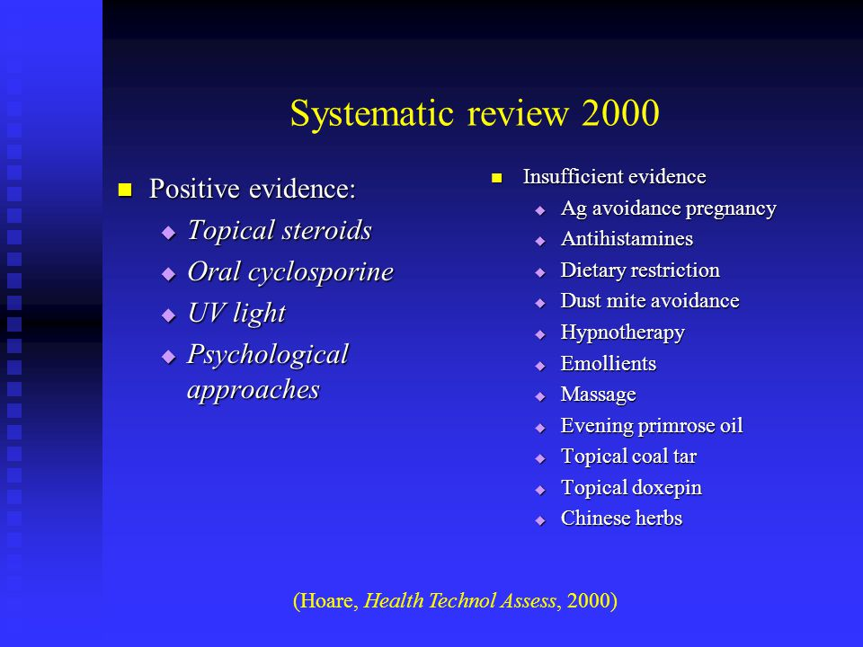 Systematic review 2000 Positive evidence: Positive evidence:  Topical steroids  Oral cyclosporine  UV light  Psychological approaches Insufficient