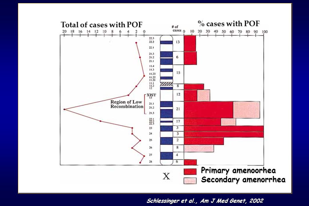 Schlessinger et al., Am J Med Genet, 2002 Total of cases with POF % cases with POF Primary amenoorhea Secondary amenorrhea
