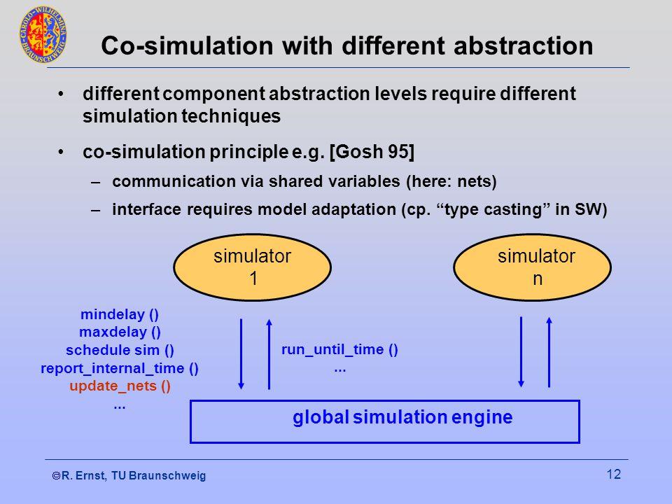  R. Ernst, TU Braunschweig 12 Co-simulation with different abstraction different component abstraction levels require different simulation technique