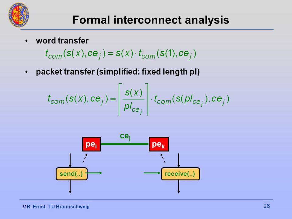  R. Ernst, TU Braunschweig 26 Formal interconnect analysis word transfer packet transfer (simplified: fixed length pl) pe i pe k ce j send(..)receiv