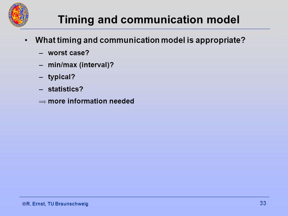  R. Ernst, TU Braunschweig 33 Timing and communication model What timing and communication model is appropriate? –worst case? –min/max (interval)? –