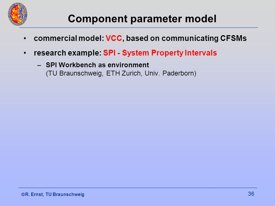  R. Ernst, TU Braunschweig 36 Component parameter model commercial model: VCC, based on communicating CFSMs research example: SPI - System Property