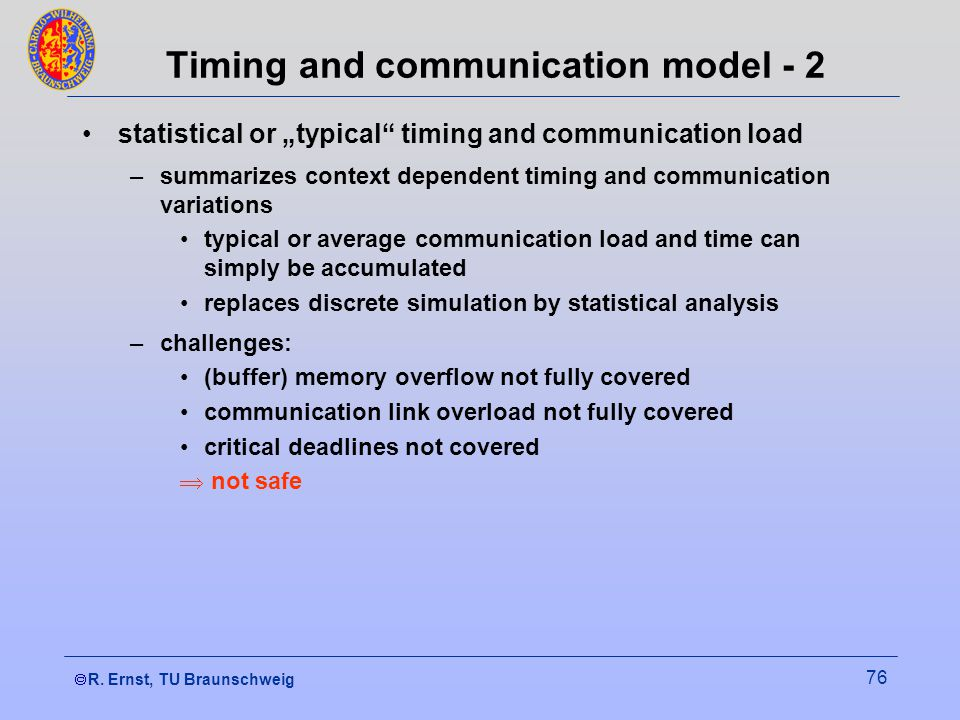 """ R. Ernst, TU Braunschweig 76 Timing and communication model - 2 statistical or """"typical"""" timing and communication load –summarizes context dependen"""