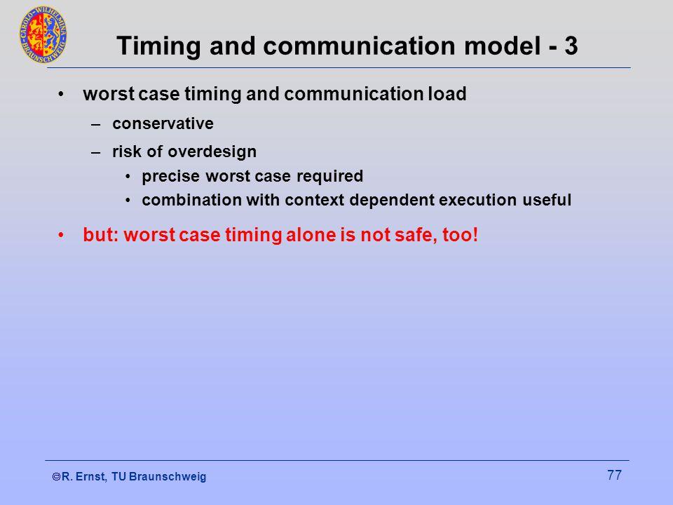  R. Ernst, TU Braunschweig 77 Timing and communication model - 3 worst case timing and communication load –conservative –risk of overdesign precise