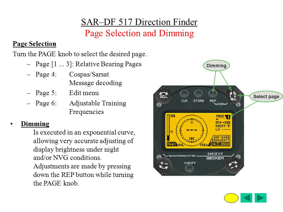 Page Selection Turn the PAGE knob to select the desired page. –Page [1... 3]: Relative Bearing Pages –Page 4: Cospas/Sarsat Message decoding –Page 5:E