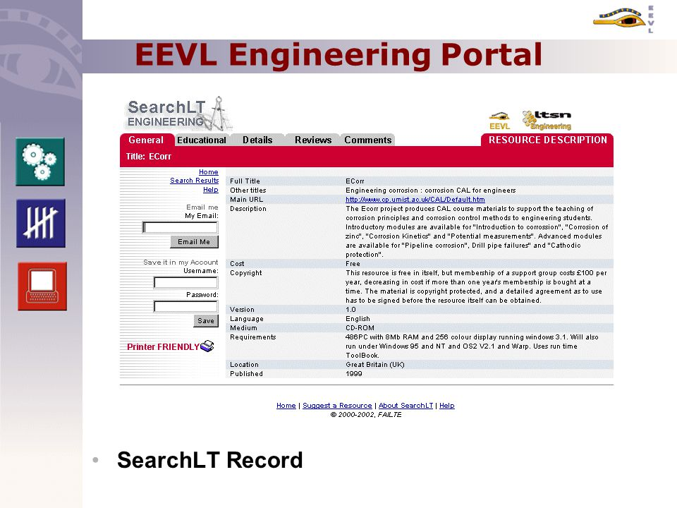 EEVL Engineering Portal SearchLT Record