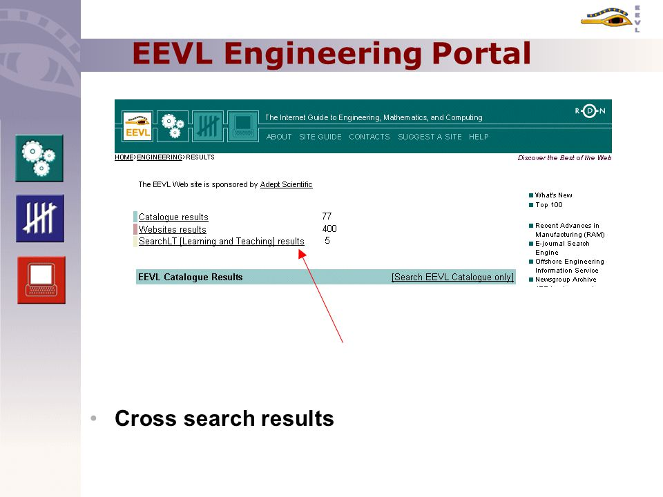 EEVL Engineering Portal Cross search results