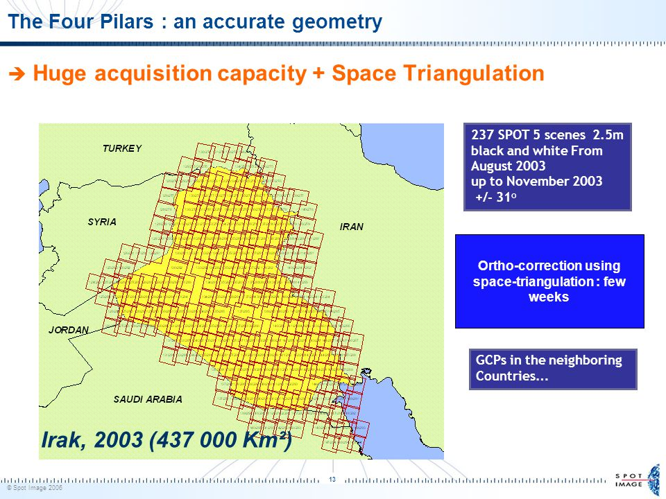 © Spot Image 2006 13 The Four Pilars : an accurate geometry Ortho-correction using space-triangulation : few weeks 237 SPOT 5 scenes 2.5m black and white From August 2003 up to November 2003 +/- 31° Irak, 2003 (437 000 Km²)  Huge acquisition capacity + Space Triangulation GCPs in the neighboring Countries …