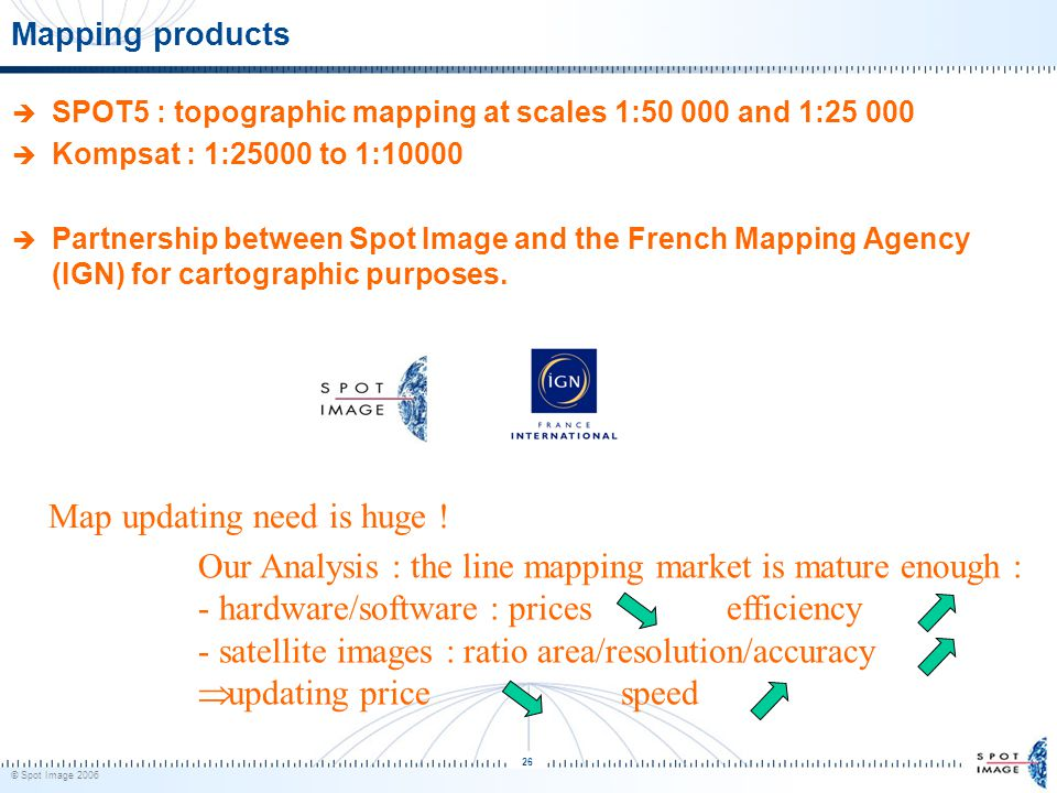 © Spot Image 2006 26 Mapping products  SPOT5 : topographic mapping at scales 1:50 000 and 1:25 000  Kompsat : 1:25000 to 1:10000  Partnership betwe