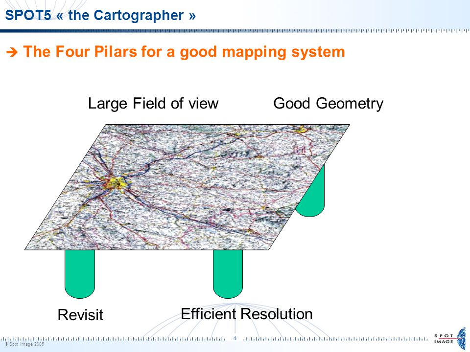 © Spot Image 2006 4 SPOT5 « the Cartographer »  The Four Pilars for a good mapping system Revisit Efficient Resolution Large Field of viewGood Geometry