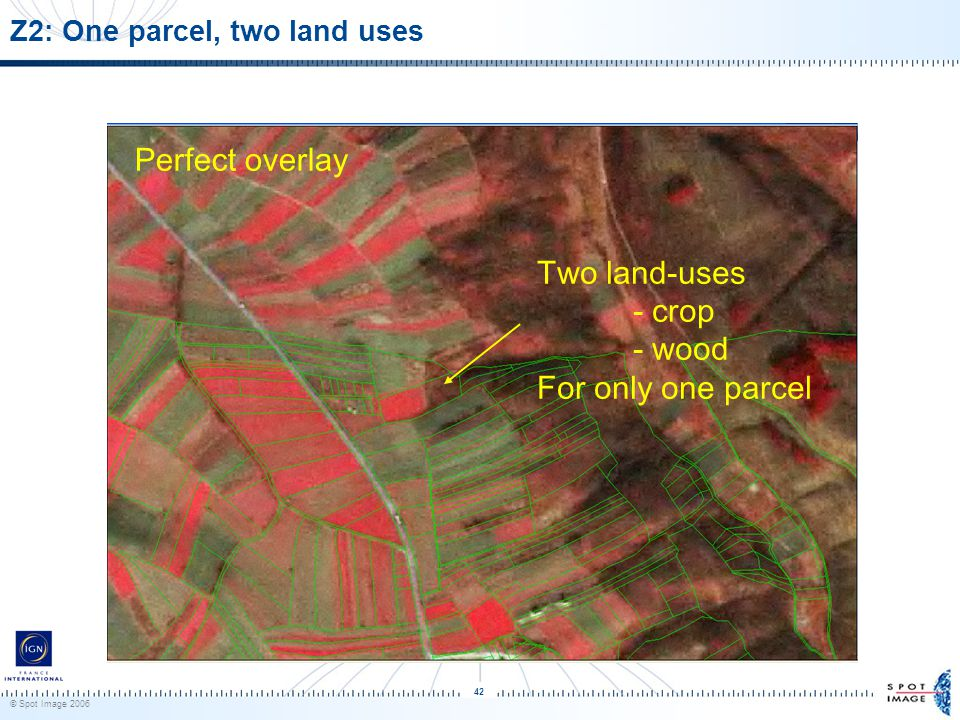 © Spot Image 2006 42 Z2: One parcel, two land uses Perfect overlay Two land-uses - crop - wood For only one parcel