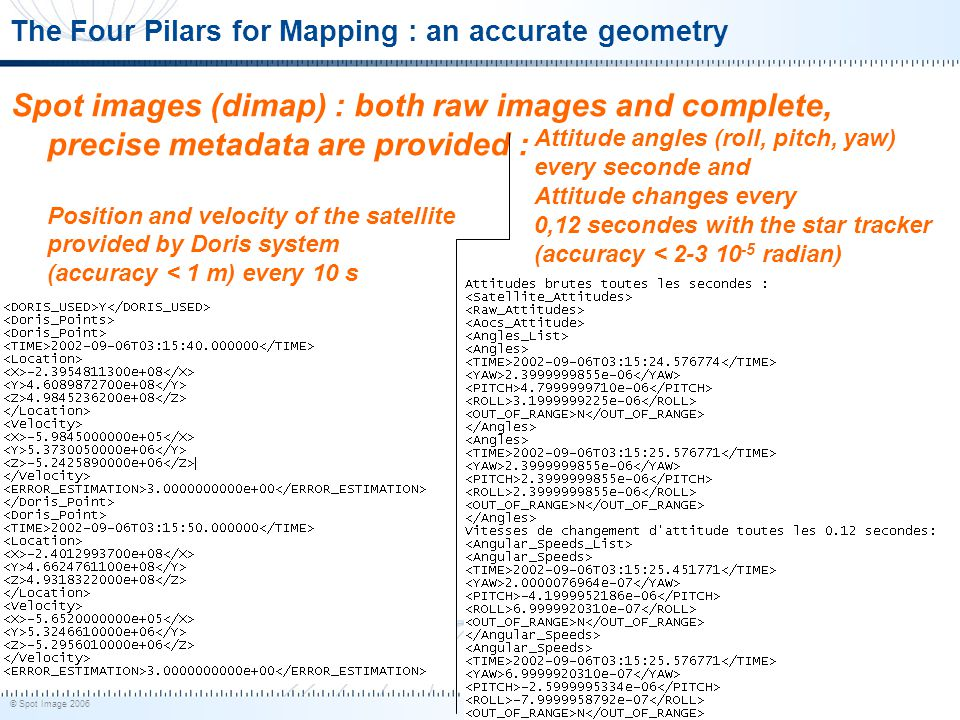 © Spot Image 2006 9 The Four Pilars for Mapping : an accurate geometry Spot images (dimap) : both raw images and complete, precise metadata are provid