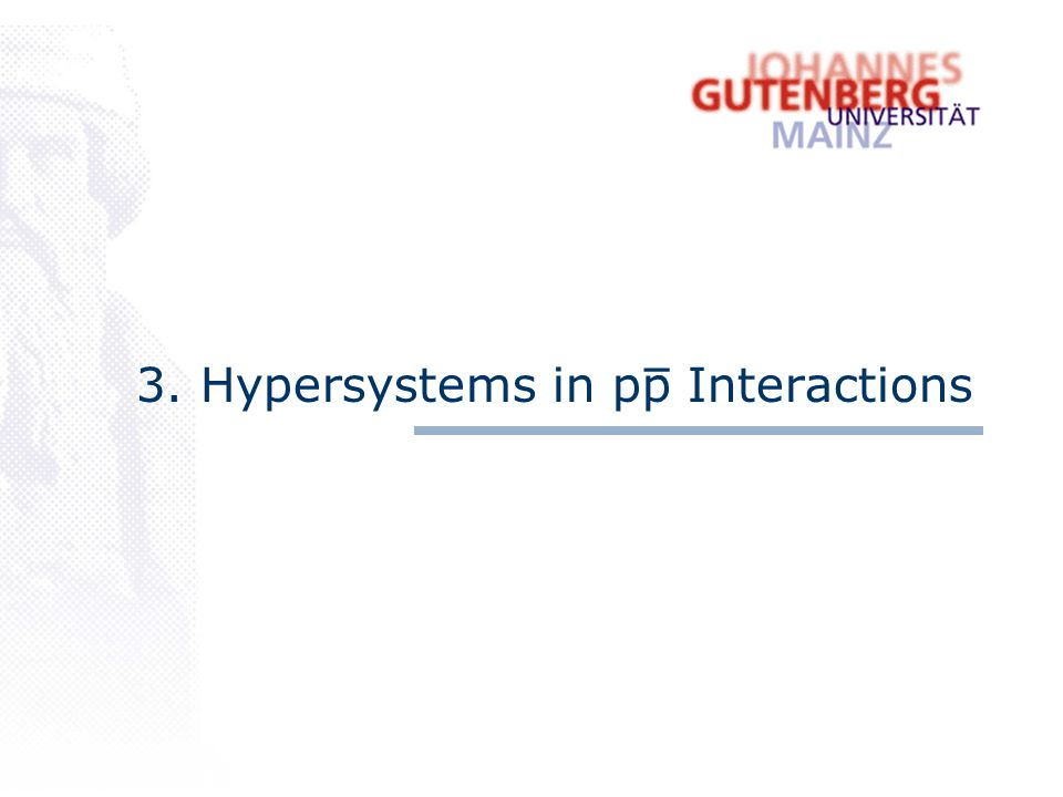 3. Hypersystems in pp Interactions _