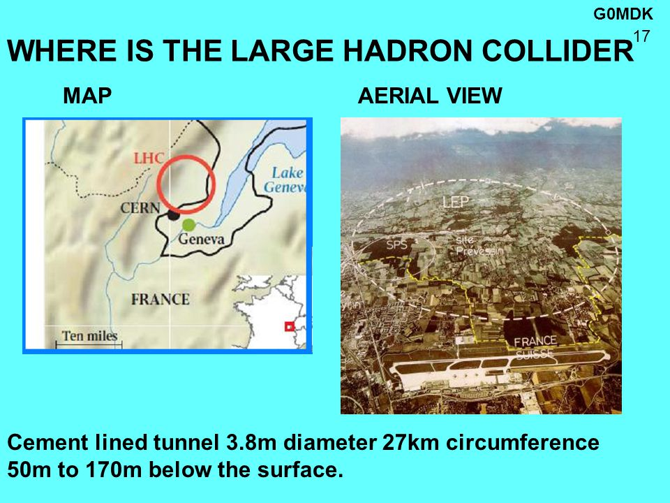 G0MDK 17 WHERE IS THE LARGE HADRON COLLIDER MAP AERIAL VIEW Cement lined tunnel 3.8m diameter 27km circumference 50m to 170m below the surface.
