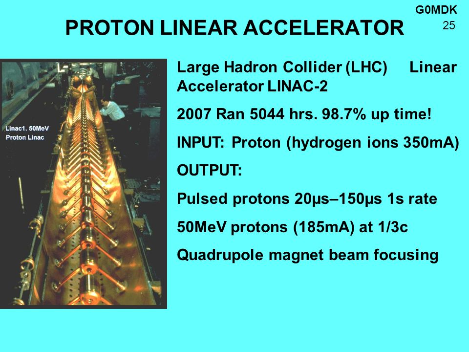 G0MDK 25 PROTON LINEAR ACCELERATOR Large Hadron Collider (LHC) Linear Accelerator LINAC-2 2007 Ran 5044 hrs.