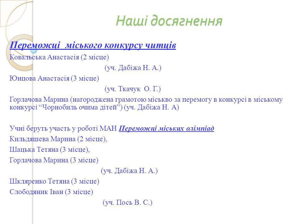 Наші досягнення Переможці міського конкурсу читців Ковальська Анастасія (2 місце) (уч.