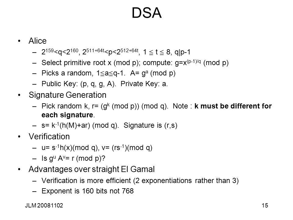 15 DSA Alice –2 159 <q<2 160, 2 511+64t <p<2 512+64t, 1  t  8, q|p-1 –Select primitive root x (mod p); compute: g=x (p-1)/q (mod p) –Picks a random, 1  a  q-1.