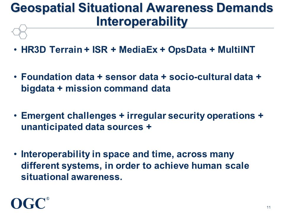 OGC ® Geospatial Situational Awareness Demands Interoperability HR3D Terrain + ISR + MediaEx + OpsData + MultiINT Foundation data + sensor data + socio-cultural data + bigdata + mission command data Emergent challenges + irregular security operations + unanticipated data sources + Interoperability in space and time, across many different systems, in order to achieve human scale situational awareness.