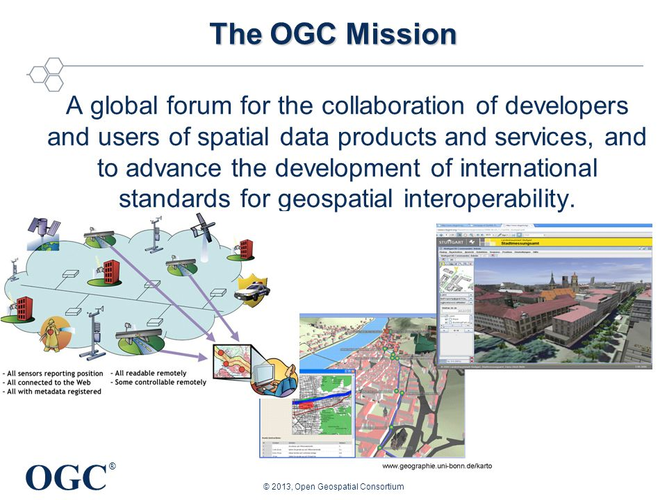 OGC ® Geospatial Situational Awareness Demands Interoperability WMS/WFS-T/WCS/CS-W, CityGML, GeoRSS, GeoSMS, GeoPackage, WPS, ARML, SensorML/SWE, etc.
