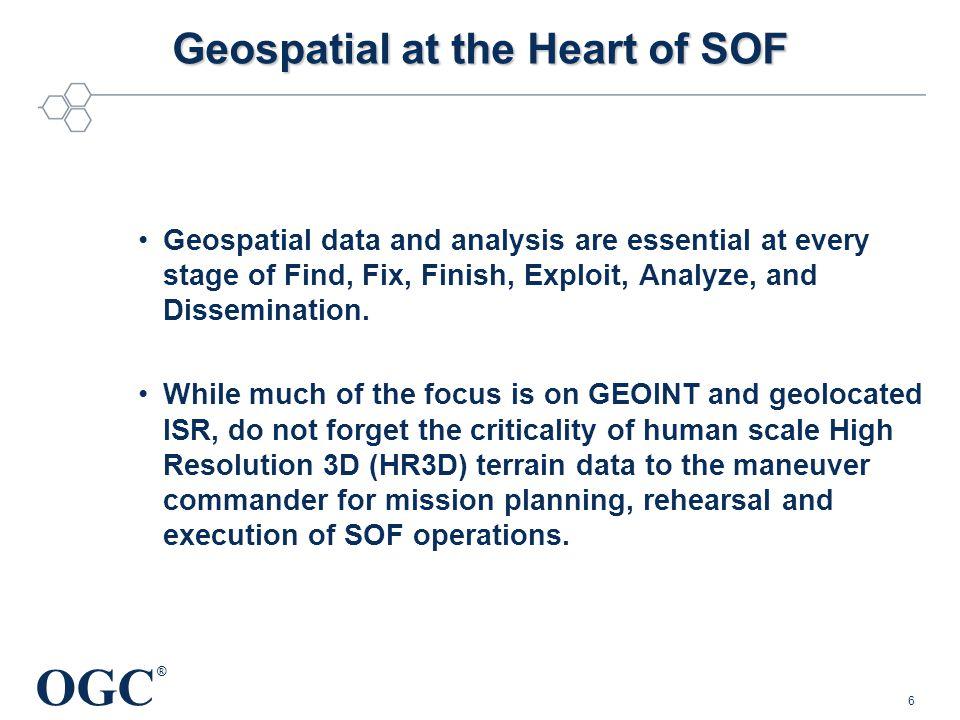 OGC ® © 2013, Open Geospatial Consortium7 Geospatial at the Heart of SOF