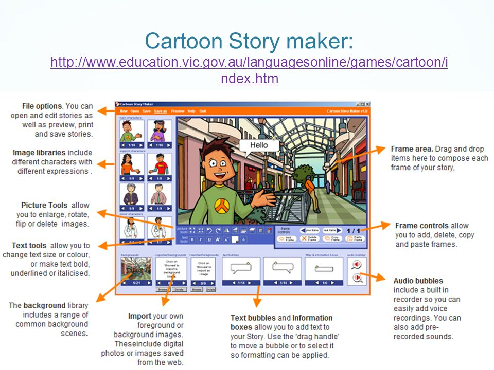 Cartoon Story maker: http://www.education.vic.gov.au/languagesonline/games/cartoon/i ndex.htm http://www.education.vic.gov.au/languagesonline/games/cartoon/i ndex.htm