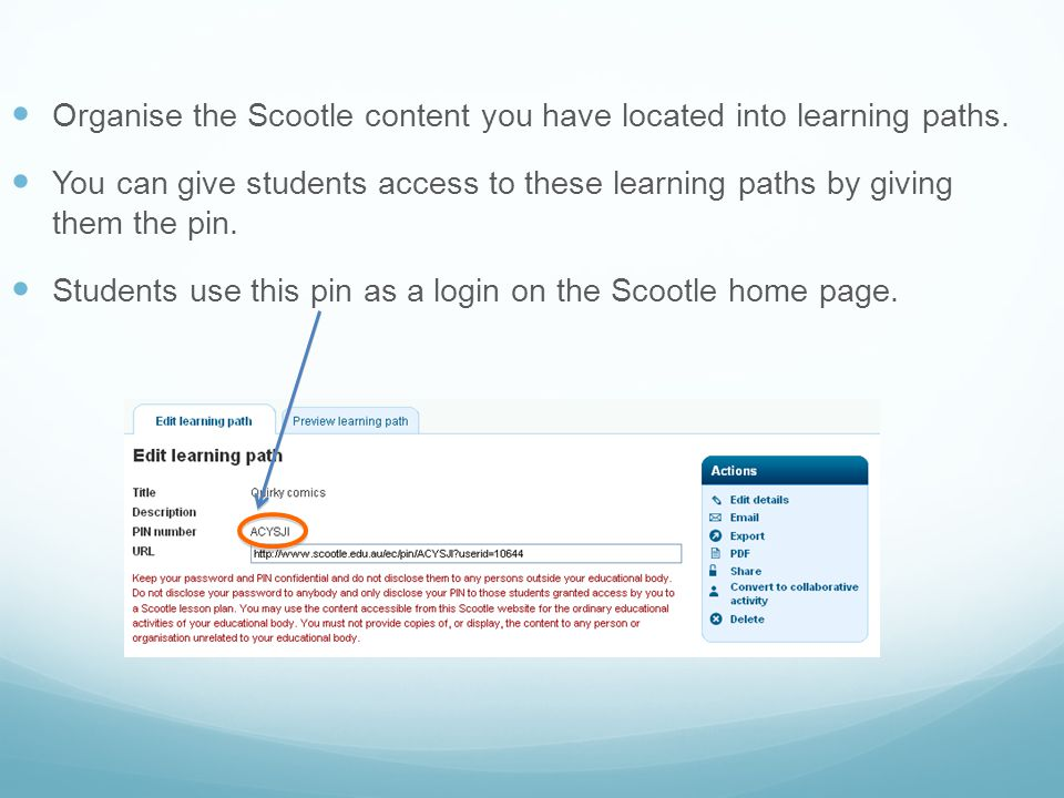 Organise the Scootle content you have located into learning paths.