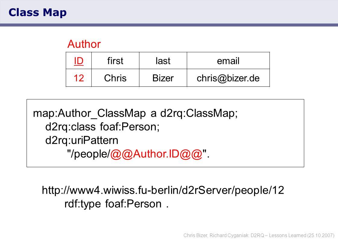 Chris Bizer, Richard Cyganiak: D2RQ – Lessons Learned (25.10.2007) Class Map map:Author_ClassMap a d2rq:ClassMap; d2rq:class foaf:Person; d2rq:uriPattern /people/@@Author.ID@@ .