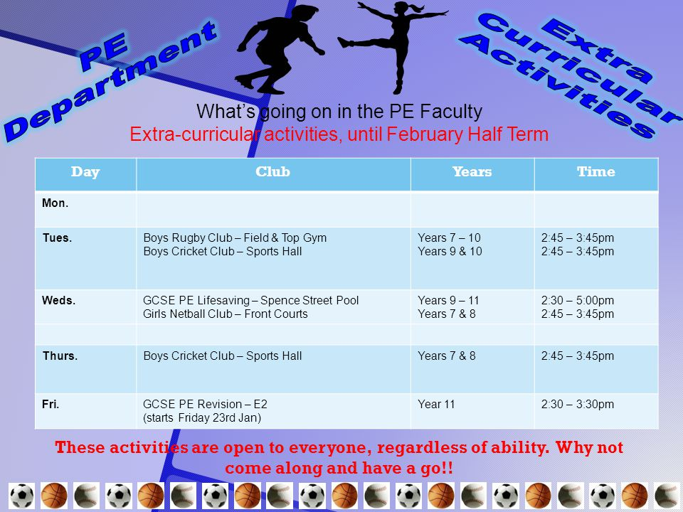 What's going on in the PE Faculty Extra-curricular activities, until February Half Term These activities are open to everyone, regardless of ability.