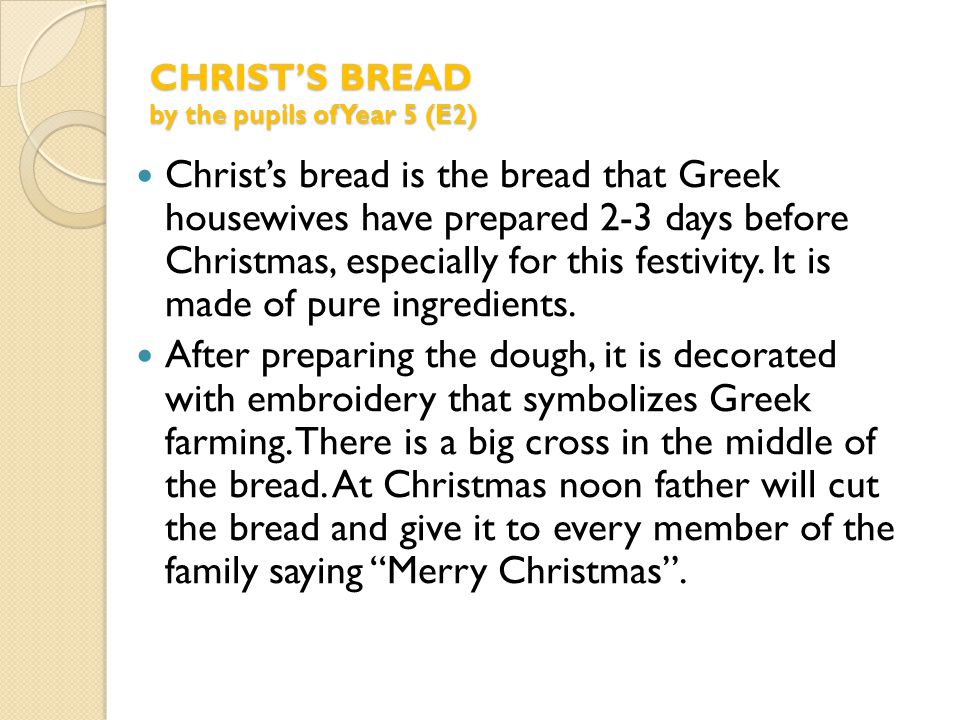 Baking Christ's bread