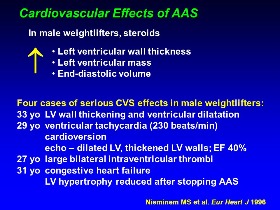 Cardiovascular Effects of AAS Nieminem MS et al. Eur Heart J 1996 Four cases of serious CVS effects in male weightlifters: 33 yoLV wall thickening and