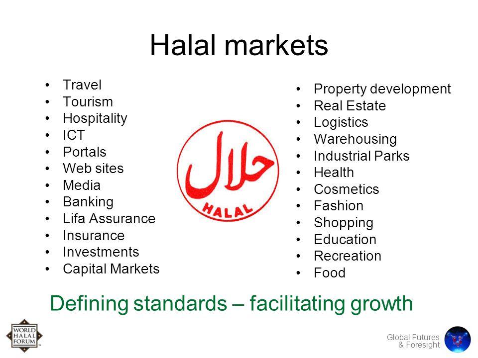 Global Futures & Foresight Halal markets Travel Tourism Hospitality ICT Portals Web sites Media Banking Lifa Assurance Insurance Investments Capital Markets Property development Real Estate Logistics Warehousing Industrial Parks Health Cosmetics Fashion Shopping Education Recreation Food Defining standards – facilitating growth