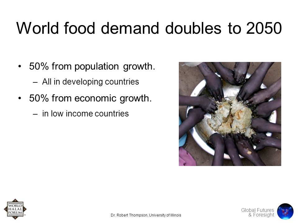 Global Futures & Foresight World food demand doubles to 2050 50% from population growth.