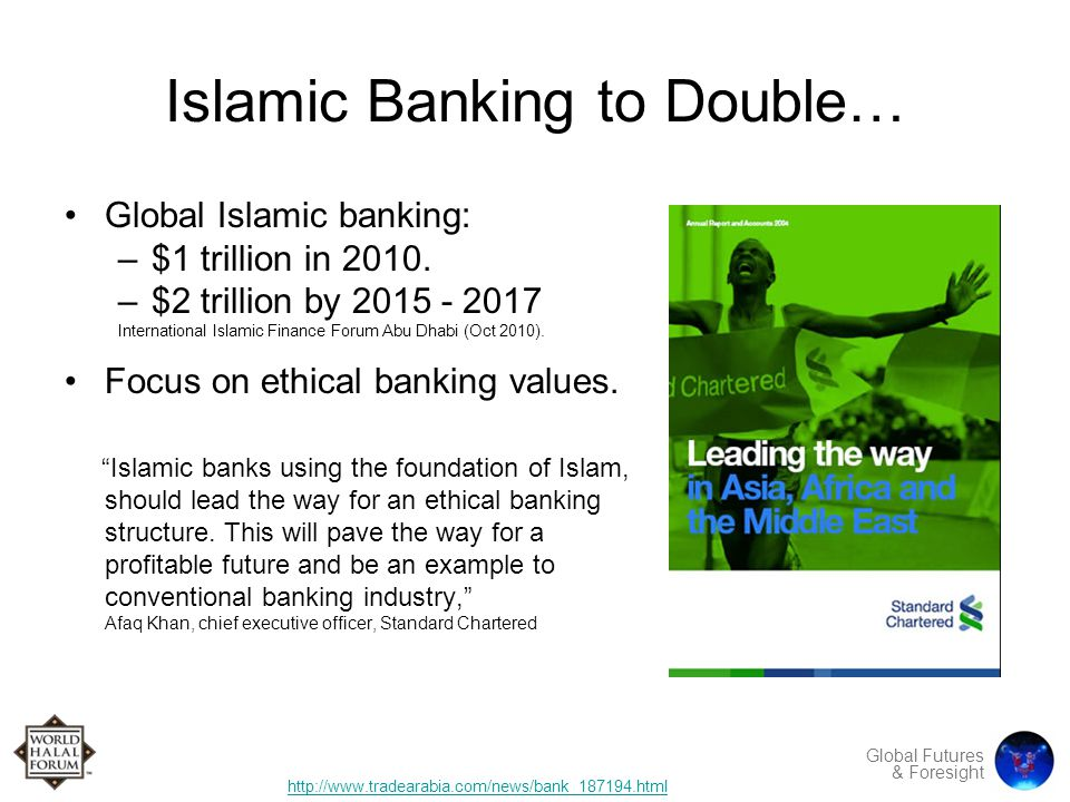 Global Futures & Foresight Islamic Banking to Double… Global Islamic banking: –$1 trillion in 2010.