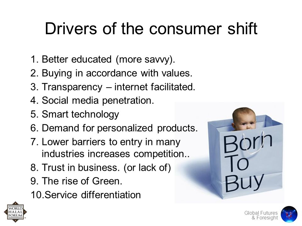 Global Futures & Foresight Drivers of the consumer shift 1.Better educated (more savvy).