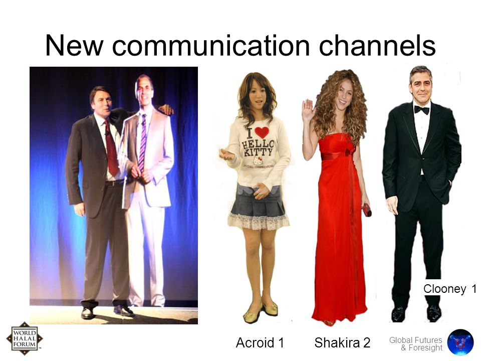 Global Futures & Foresight New communication channels Acroid 1Shakira 2 Clooney 1